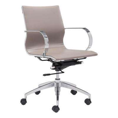 Glider Taupe Leatherette Low Back Office Chair