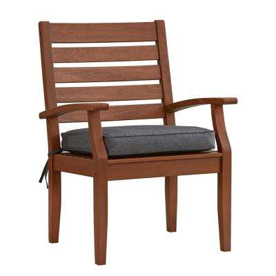 Verdon Gorge Brown Oiled Wood Outdoor Dining Arm Chair with Gray Cushion (2-Pack)