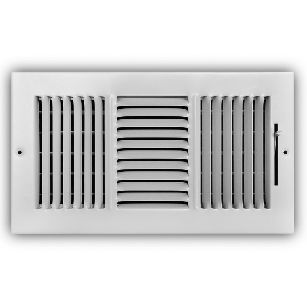 12 in. x 6 in. 3-Way Steel Wall/Ceiling Register in White