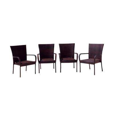 Victor Multi-Brown Stackable Wicker Outdoor Dining Chair (4-Pack)