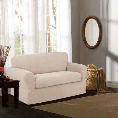Reeves Stretch White Loveseat Slipcover (2-Piece)