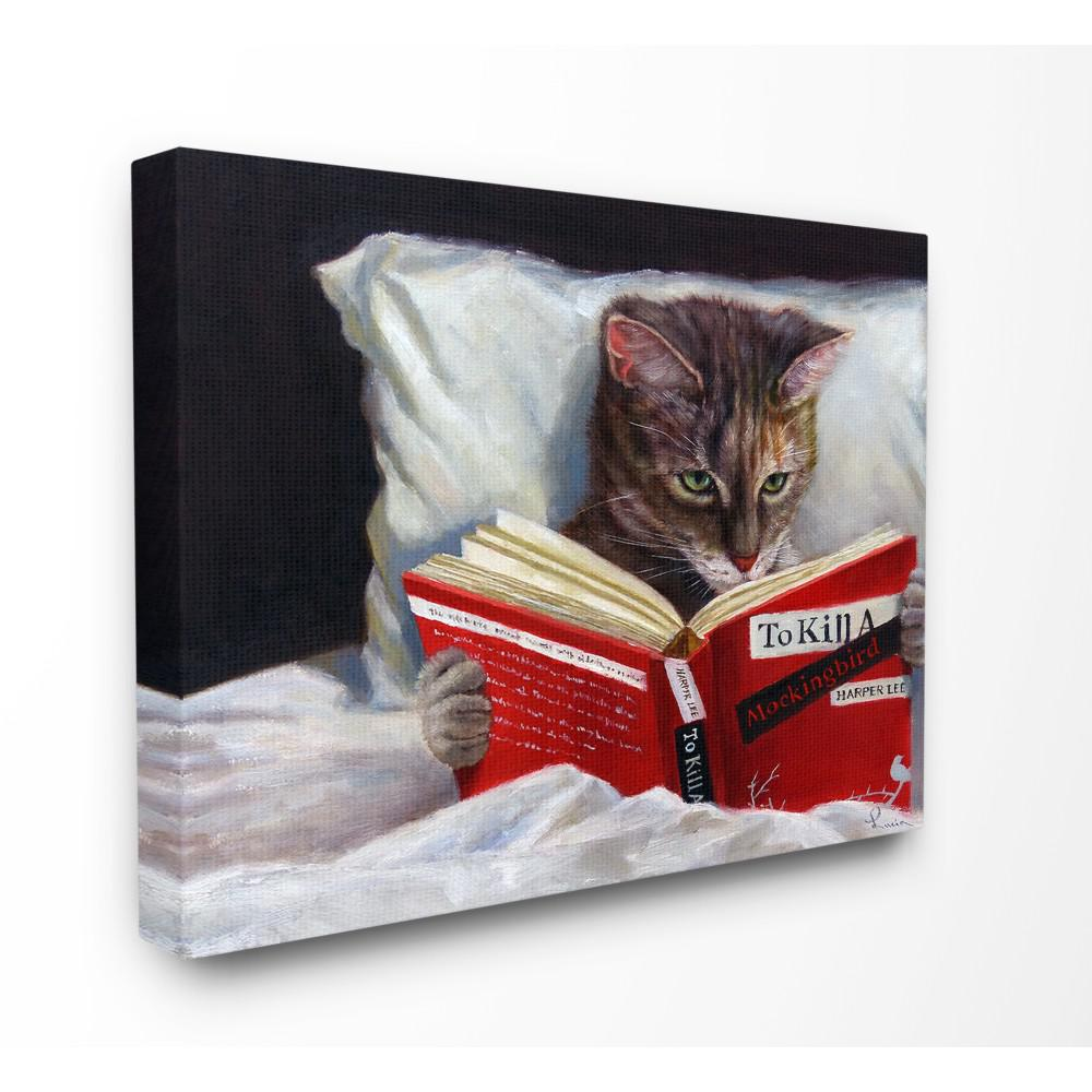 "16 in. x 20 in.""Cat Reading a Book in Bed Funny"