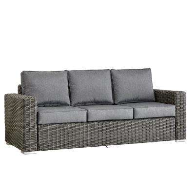 Camari Charcoal Square Arm Wicker Outdoor Sofa with Gray Cushion