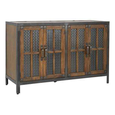 Barcelona Alder 4-Door Console with Rustic Metal
