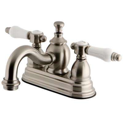 French Porclain 4 in. Centerset 2-Handle Mid-Arc Bathroom Faucet in Satin Nickel