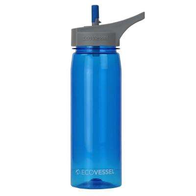 25 oz. Wave Tritan Plastic Bottle with Straw Top - Boulder Blue