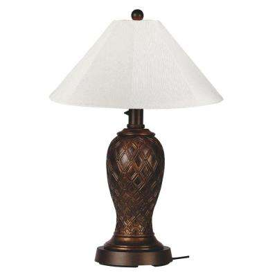 Monterey 34 in. Bronze Outdoor Table Lamp with Natural Linen Shade