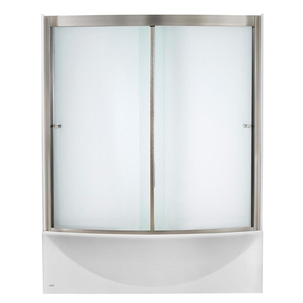 Ovation 60 in. x 58 in. Framed Sliding Tub/Shower Door in Satin Nickel