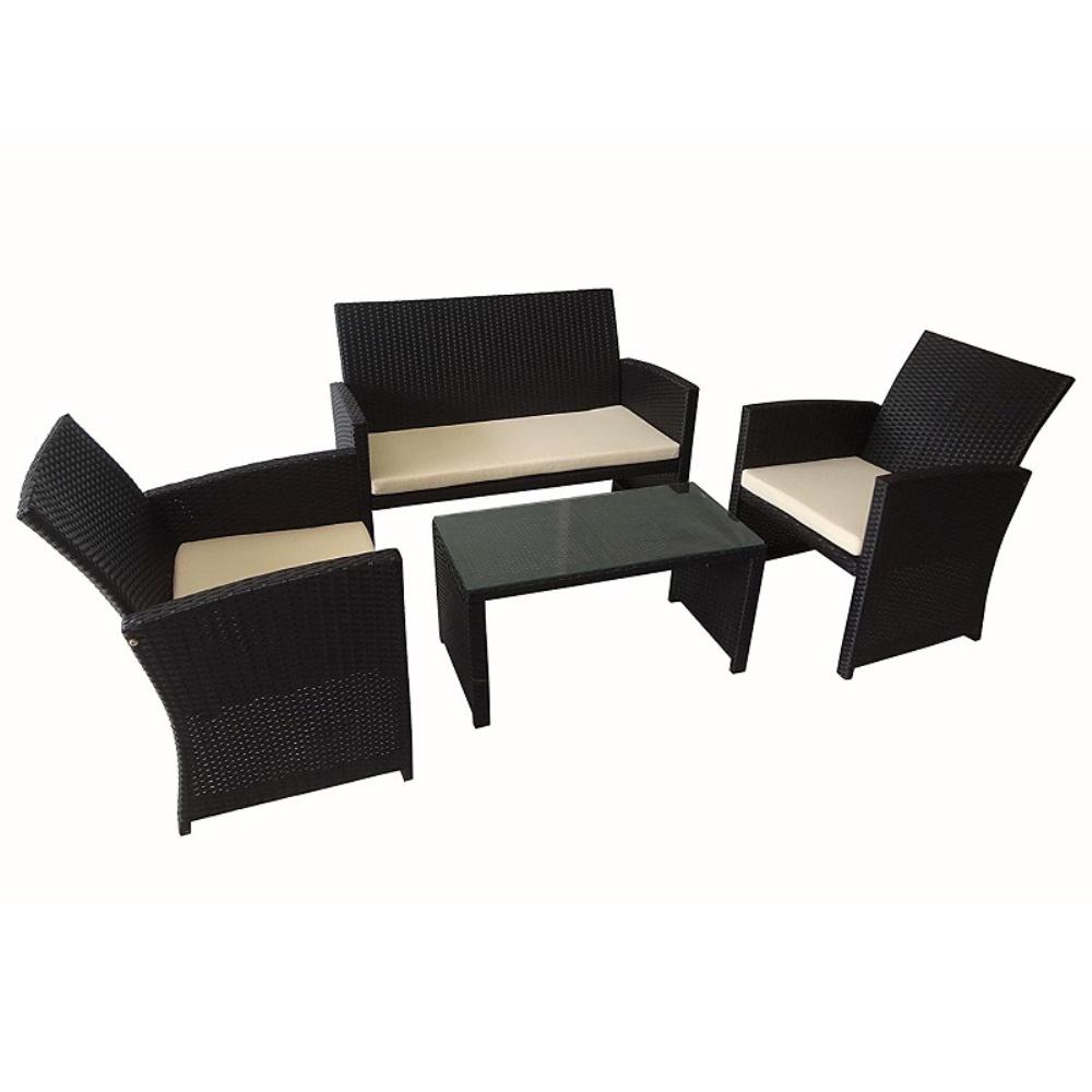 Malabo Rattan 4-Piece Furniture Set with Cream Cushions
