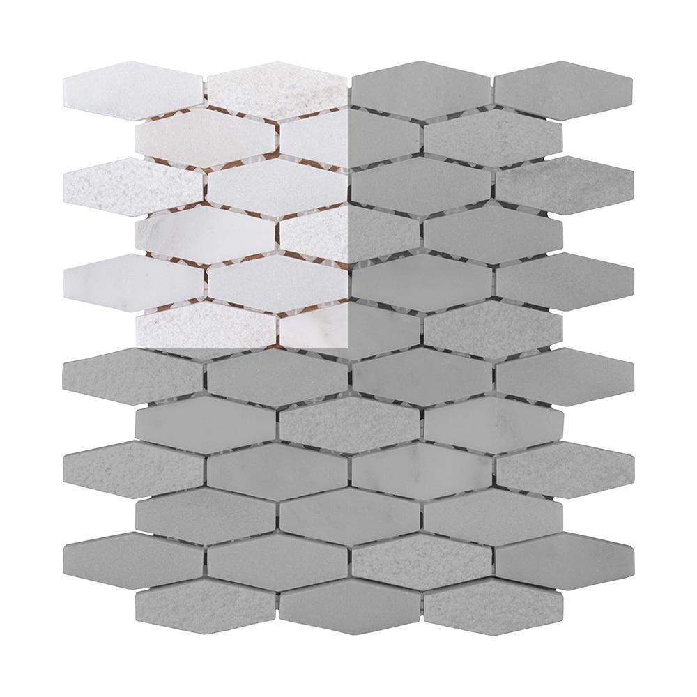 Nimbus 3 in. x 6 in. x 10 mm Marble Stone Mosaic Tile Sample