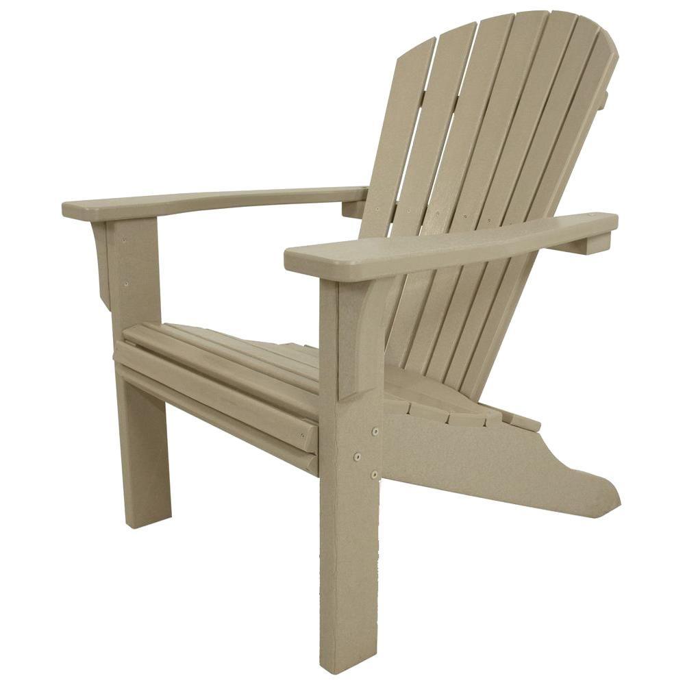 Polywood Seashell Sand Plastic Patio Adirondack Chair