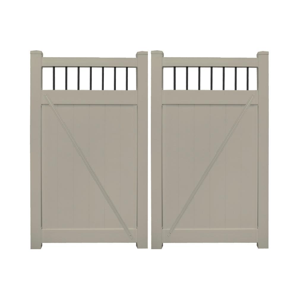Bradford 7.4 ft. W x 6 ft. H Khaki Vinyl Privacy Fence Double GateKit