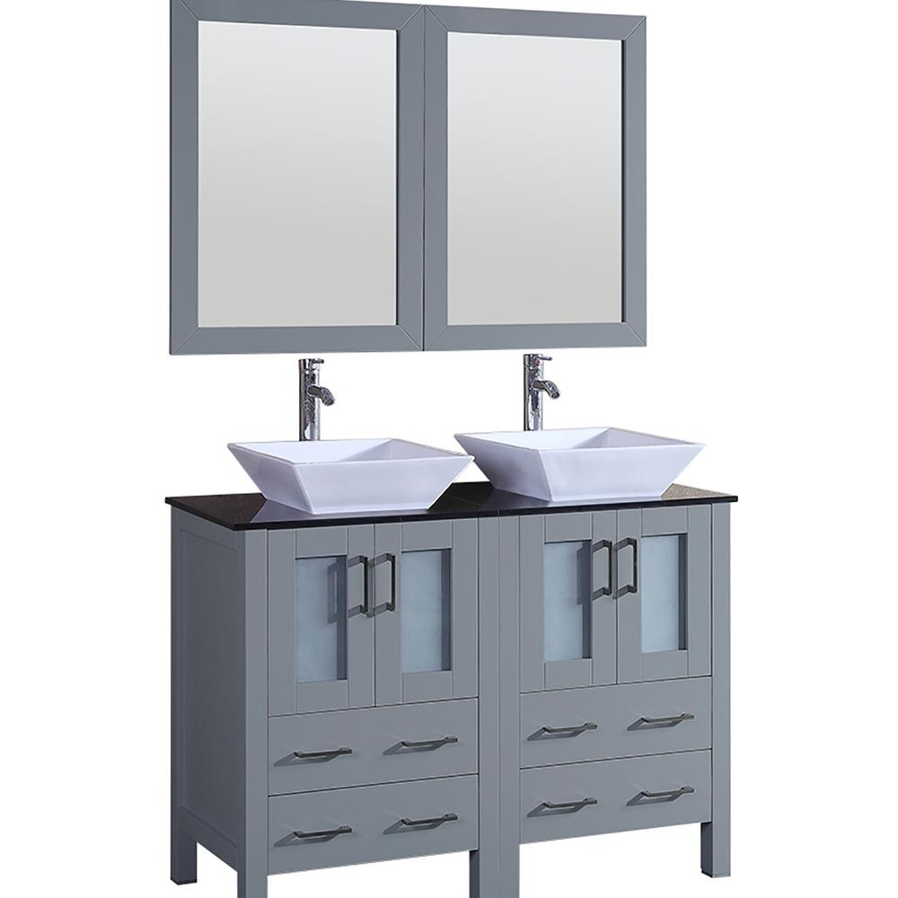 Bosconi Bosconi 48 in. Double Vanity in Gray with Vanity Top in Black with White Basin and Mirror