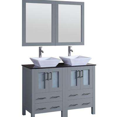 Bosconi 48 in. Double Vanity in Gray with Vanity Top in Black with White Basin and Mirror