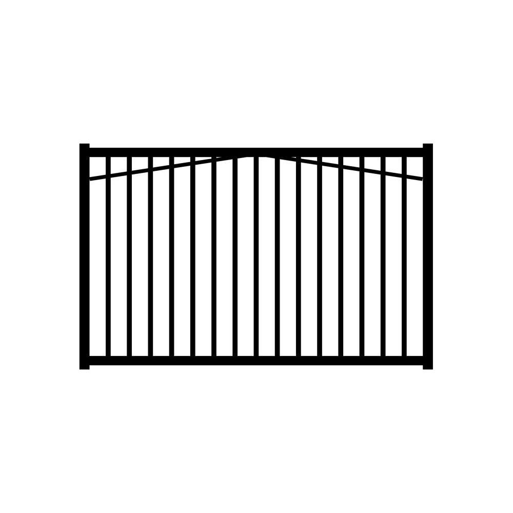 Jerith Ovation 6 ft. W x 4 ft. H Black Aluminum 2-Rail Fence Gate