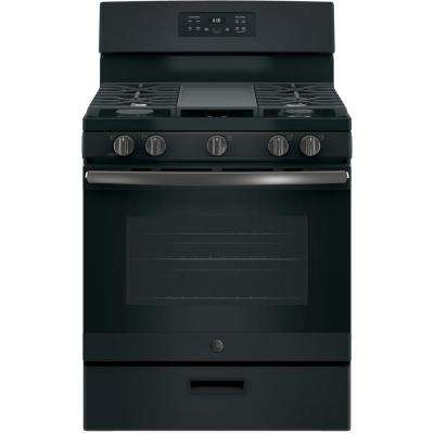 30 in. 5.0 cu. ft. Gas Range in Black Slate, Fingerprint Resistant