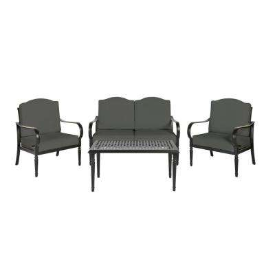 Laurel Oaks Brown 4-Piece Steel Outdoor Patio Conversation Seating Set with CushionGuard Graphite Dark Gray Cushions