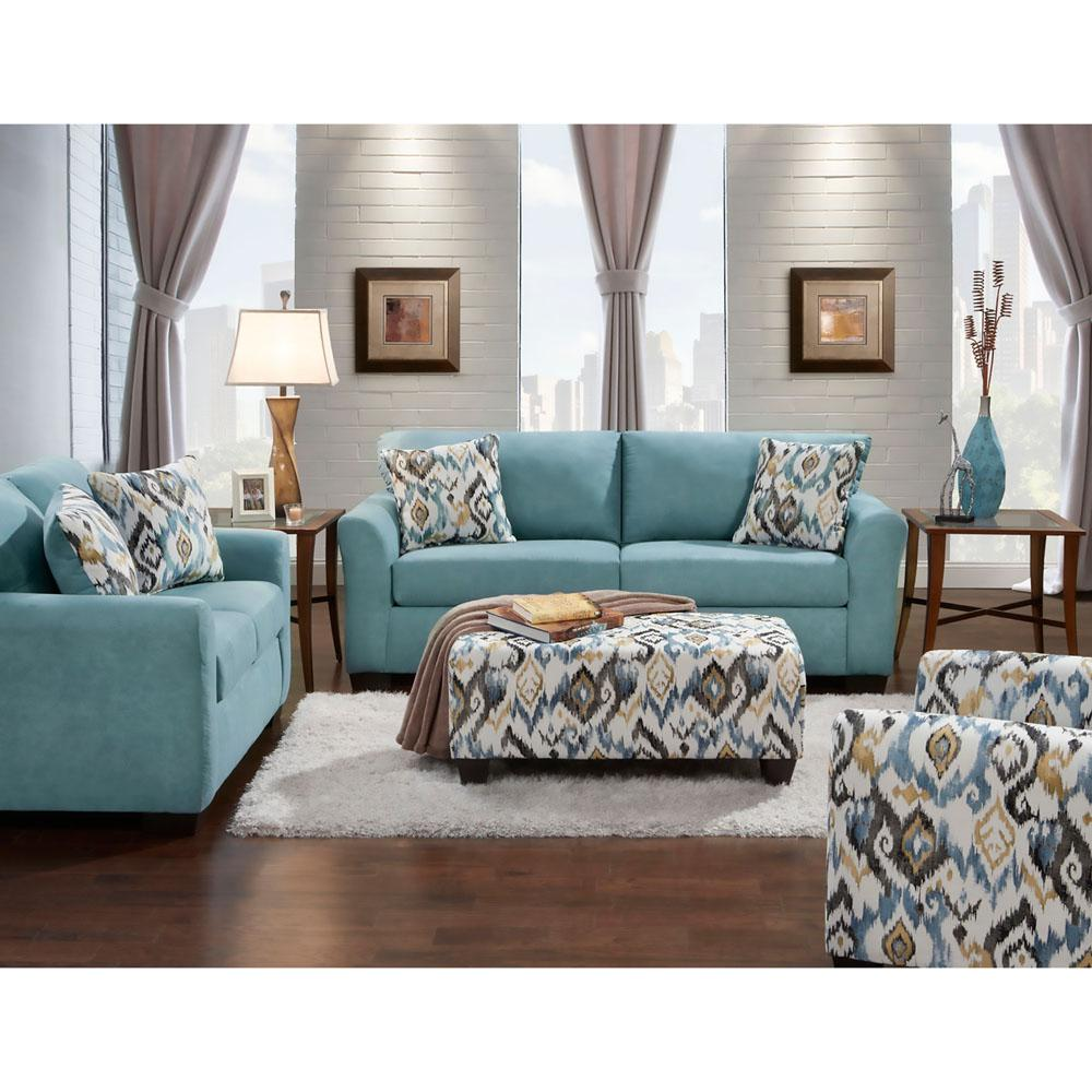 Carlisle 4 Piece Teal Sofa, Loveseat, Accent Chair And Ottoman Set