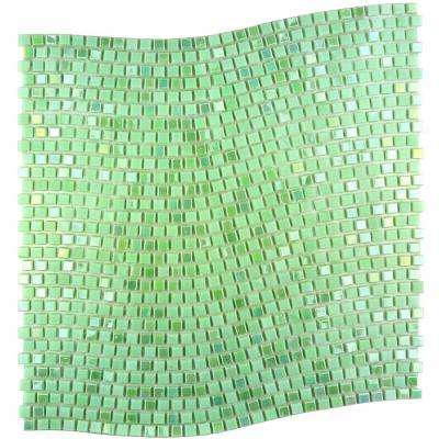 Constellation Wavy Green 11.7 in. x 11.7 in. x 3.20 mm Glass Mosaic Tile