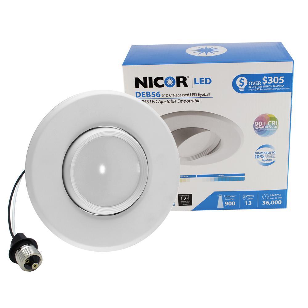 DLR Series 6 in. White (2700K) Dimmable LED Retrofit Recessed Eyeball Trim Kit, 94 CRI