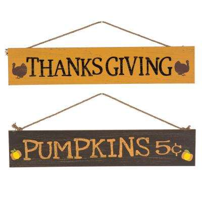 24 in. L Wooden Pumpkins Wall Sign 2Asst