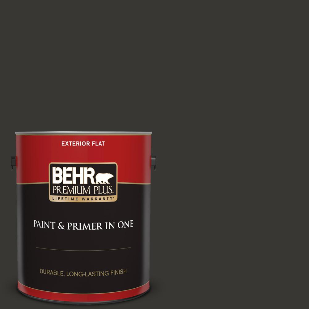 Behr Premium Plus 1 Gal Black Flat Exterior Paint And Primer In One