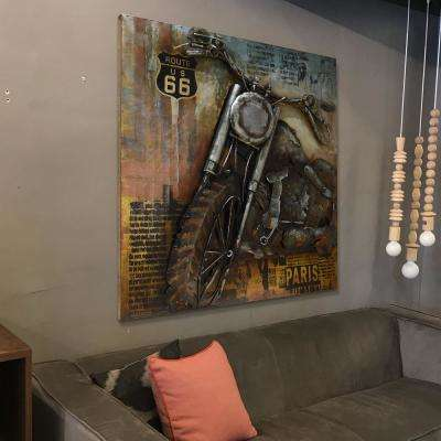 """40 in. x 40 in. """"Motorcycle 1"""" Mixed Media Iron Hand Painted Dimensional Wall Art"""