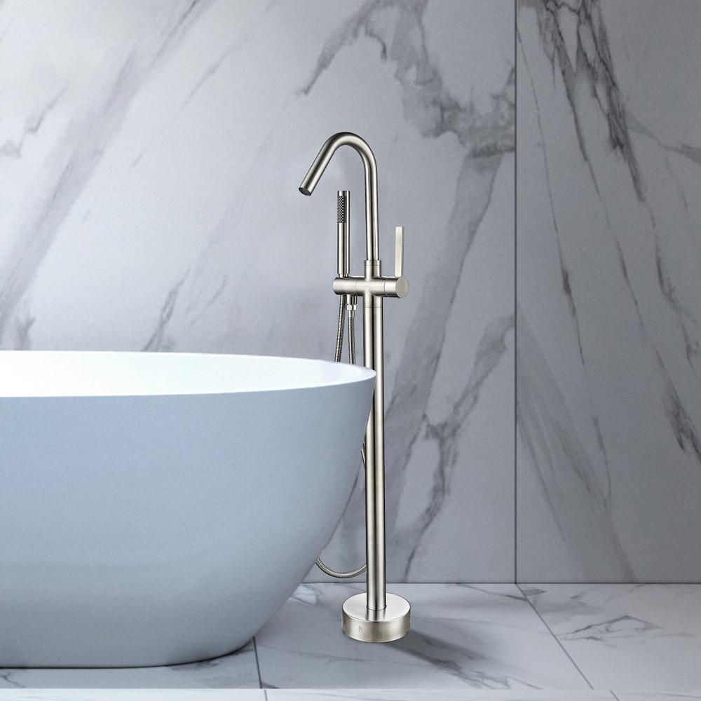 Vanity Art 40 in. H x 11 in. W Single-Handle Claw Foot Tub Faucet with Hand Shower in Brushed Nickel was $273.99 now $205.48 (25.0% off)