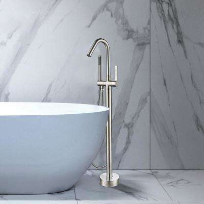 40 in. H x 11 in. W Single-Handle Claw Foot Tub Faucet with Hand Shower in Brushed Nickel