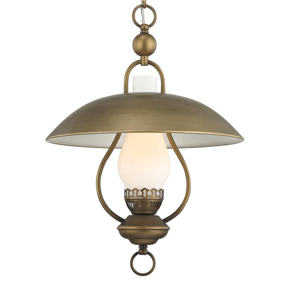 Fifth and Main Lighting Odessa 1-Light Aged Brass Pendant