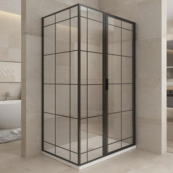 Morden 48 in. W x 76 in. H Pivot Framed Shower Door/Enclouse in Matte Black with Handle, Right Side