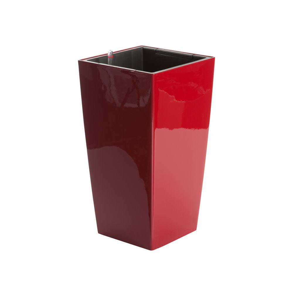 Algreen Modena 16 In Square Gloss Red Plastic Self Watering Planter
