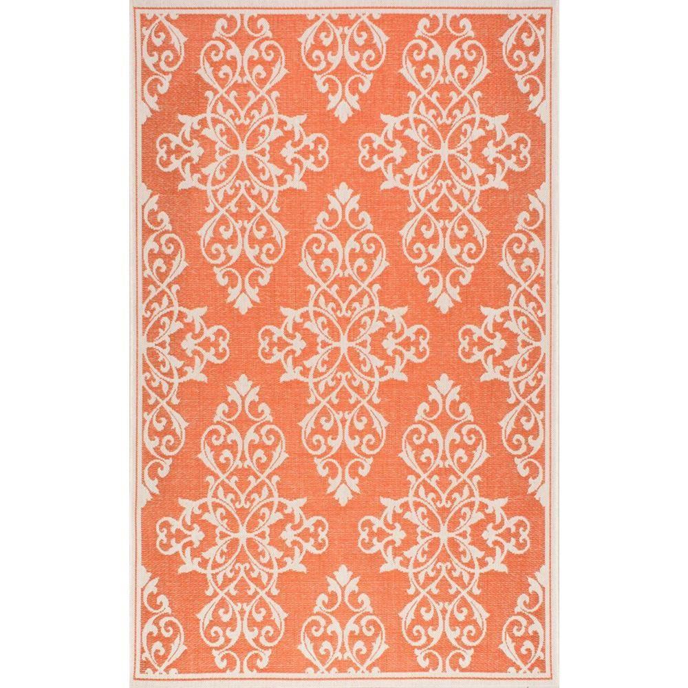 Bivins Orange 5 Ft. 3 In. X 7 Ft. 6 In. Indoor