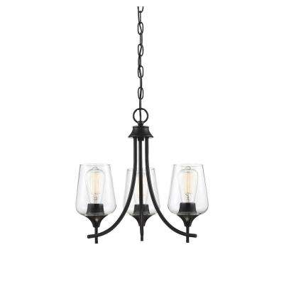 3-Light Black Chandelier with Clear Glass