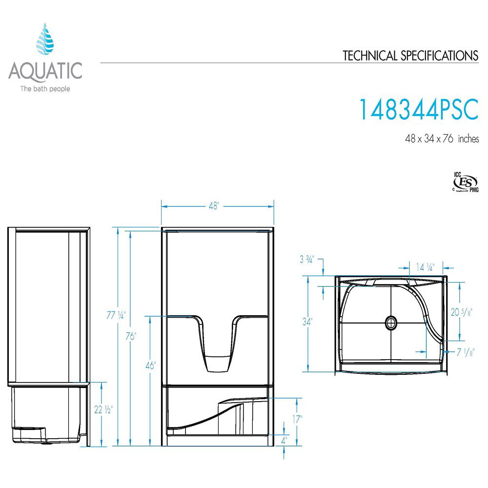 shower stall schematic aquatic varia 48 in x 34 in x 76 in 4 piece shower stall with  x 34 in x 76 in 4 piece shower stall