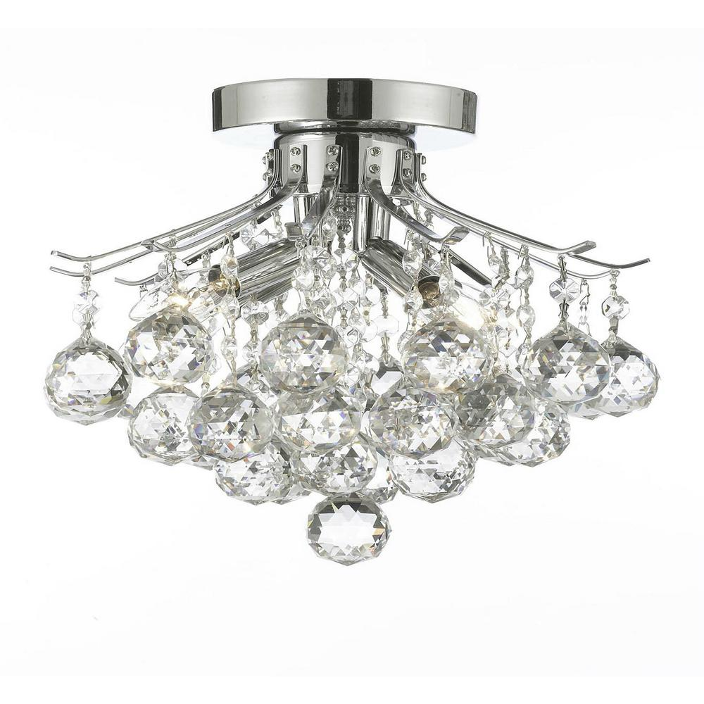 crystal flush mount chandelier. Empire Crystal 4-Light Chrome Flush Mount Chandelier