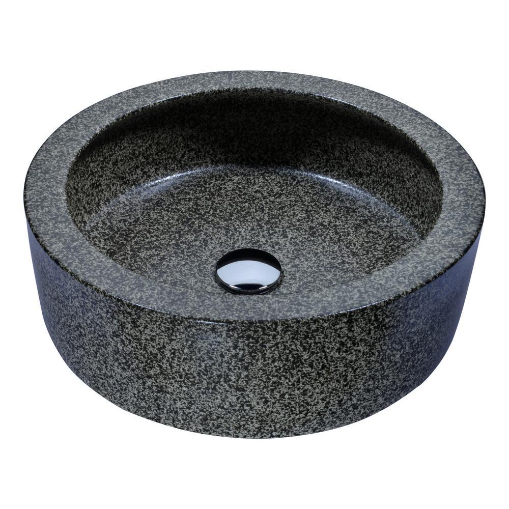 ANZZI Black Desert Crown Vessel Sink in Speckled Stone