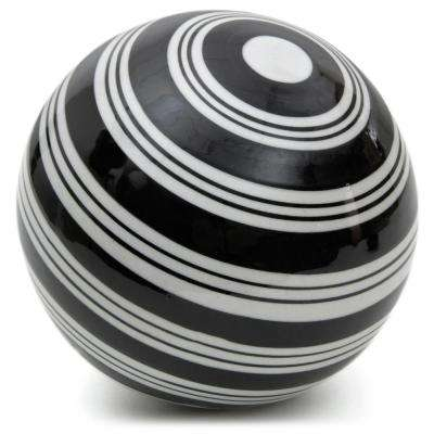 Oriental Furniture 6 in. Decorative Porcelain Ball - Black with White Stripes