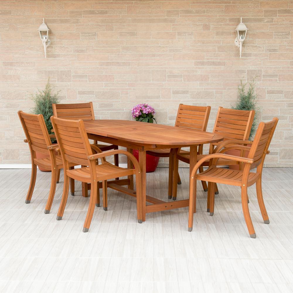 Amazonia Arizona Oval 7 Piece Eucalyptus Patio Dining Set Sc 360 6cata The Home Depot