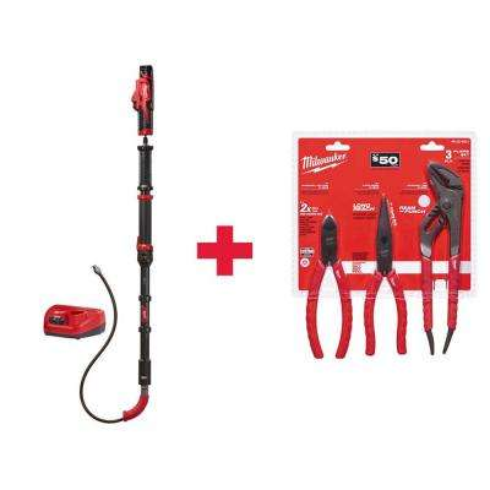 M12 Trap Snake 12-Volt Lithium-Ion Cordless 6 ft. Toilet Auger Drain Cleaning Kit W/ Pliers Kit (3-Piece)