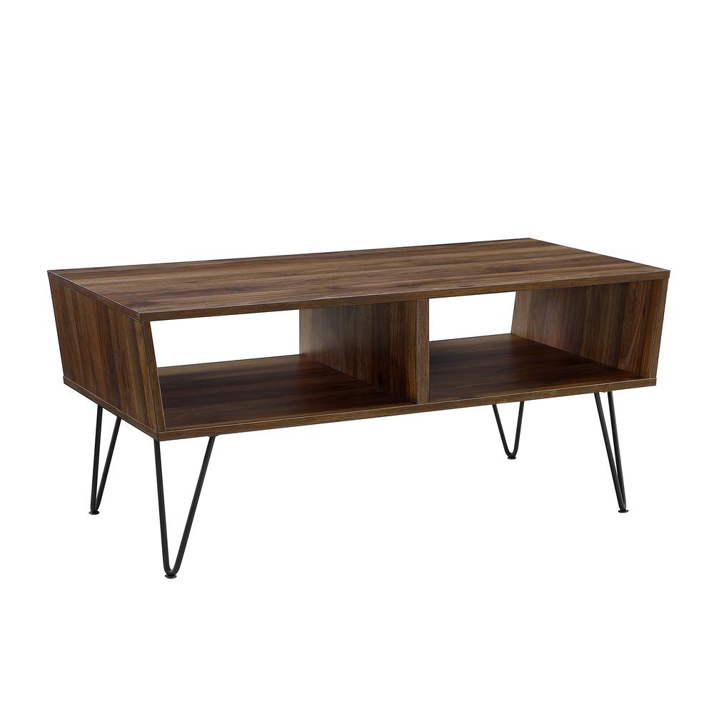 Walker Edison Furniture Company 42 In Dark Walnut Angled Coffee Table With Hairpin Legs