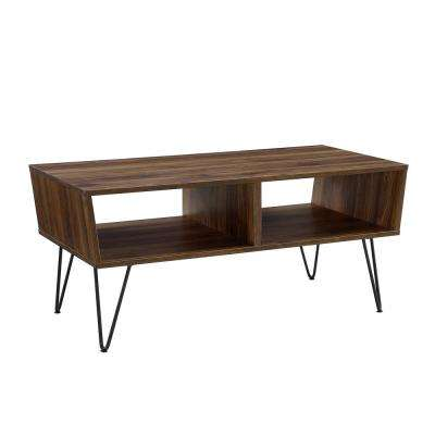 42 in. Dark Walnut Angled Coffee Table with Hairpin Legs