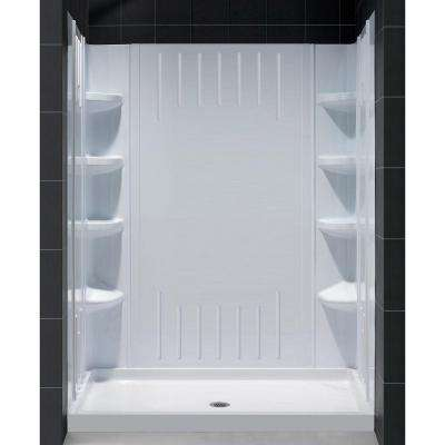 SlimLine 32 in. x 60 in. Single Threshold Shower Base with Center Drain and QWALL-3 Shower Back Wall Kit in White