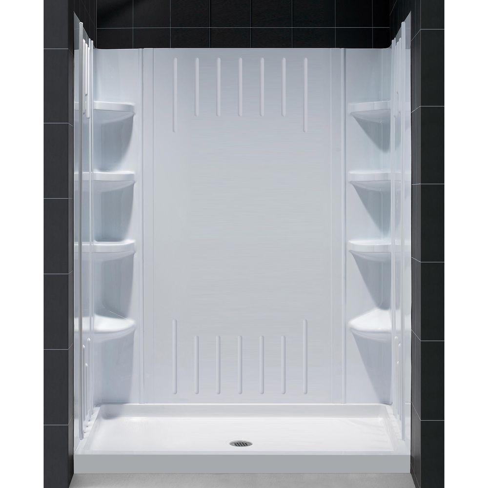 SlimLine 34 in. x 60 in. Single Threshold Shower Base in White Center Drain Base with Back Walls