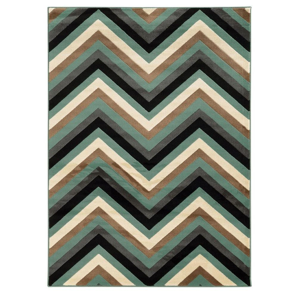 Linon Home Decor Roma Collection Chevron Turquoise and Grey 8 ft. x 10 ft. Indoor Area Rug