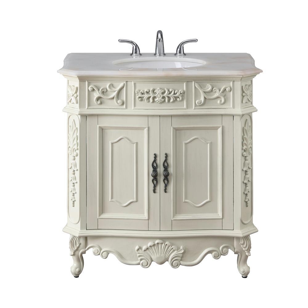 Winslow 33 in. W x 22 in. D Bath Vanity in Antique White with Vanity Top in White Marble with White Basin