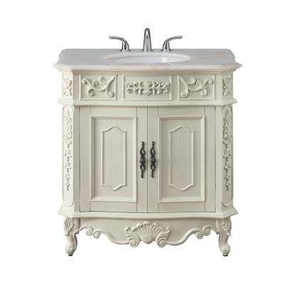Winslow 33 in. W x 22 in. D Bath Vanity in Antique White with Vanity Top in White Marble with White Basin