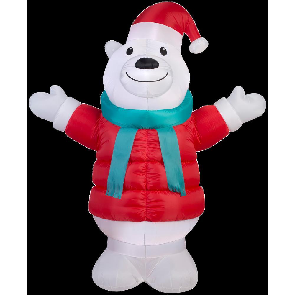 6 ft. W x 7 ft. H Inflatable Puffy Parka Polar Bear
