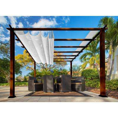 Paragon 11 ft. x 11 ft. Aluminum Pergola with the Look of Chilean Wood Grain Finish with an Off-White Color Canopy Top