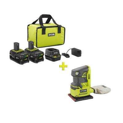 18-Volt ONE+ High Capacity 4.0 Ah Battery (2-Pack) Starter Kit with Charger and Bag with FREE ONE+ 1/4 Sheet Sander